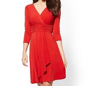 3/4 Sleeve Stretch A-line Dress